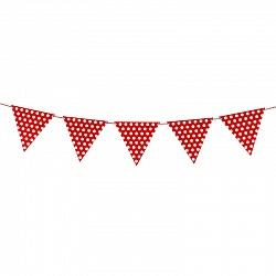 Гирлянда флажки, Точки, красный, на веревке, 2м.