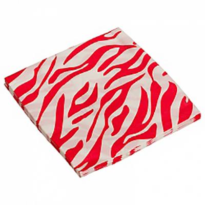 Салфетки, Окрас зебры, красный, 32х32см, 20ш