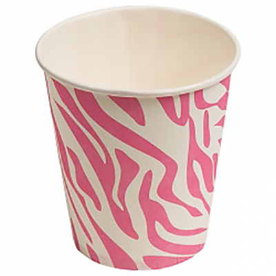 Стаканчики, Окрас зебры, розовый, 180мл, 6шт