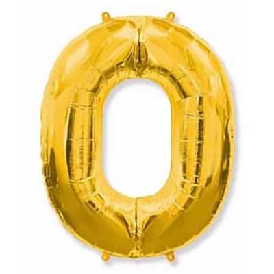 Шар (40»/102 см) Цифра, 0, Золото, 1 шт