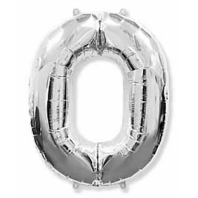 Шар (40»/102 см) Цифра, 0, Серебро, 1 шт
