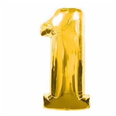 Шар (40»/102 см) Цифра, 1, Золото, 1 шт