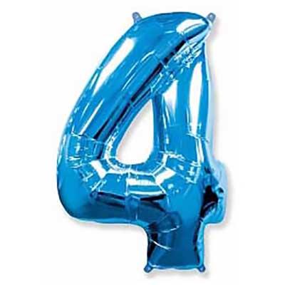 Шар (40»/102 см) Цифра, 4, Синий, 1 шт