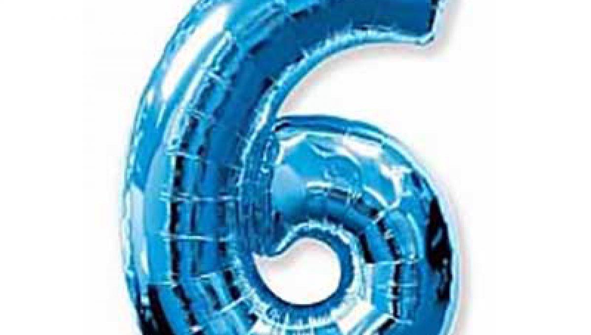 Шар (40»/102 см) Цифра, 6, Синий, 1 шт