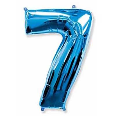 Шар (40»/102 см) Цифра, 7, Синий, 1 шт
