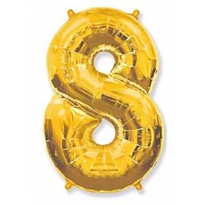 Шар (40»/102 см) Цифра, 8, Золото, 1 шт