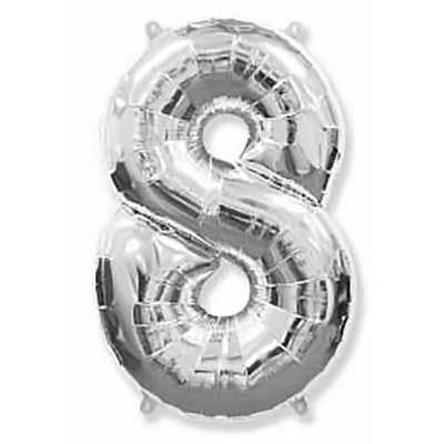 Шар (40»/102 см) Цифра, 8, Серебро, 1 шт