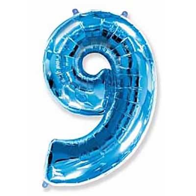 Шар (40»/102 см) Цифра, 9, Синий, 1 шт