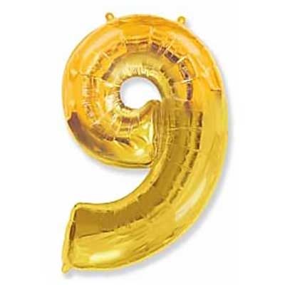 Шар (40»/102 см) Цифра, 9, Золото, 1 шт