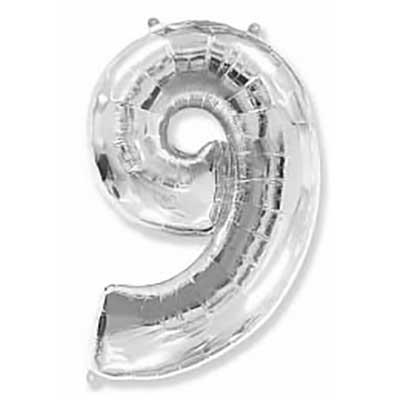Шар (40»/102 см) Цифра, 9, Серебро, 1 шт