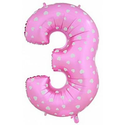 Шар (40»/102 см) Цифра-звездочки, 3, Розовый, 1 шт