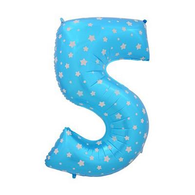 Шар (40»/102 см) Цифра-звездочки, 5, Синий, 1 шт