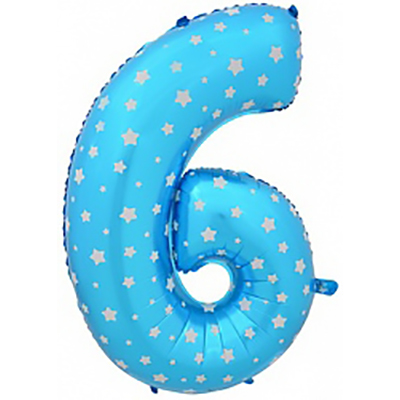 Шар (40»/102 см) Цифра-звездочки, 6 или 9, Синий, 1 шт.