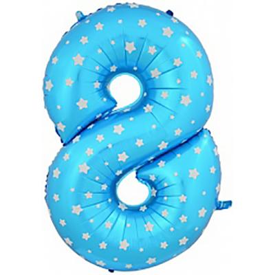 Шар (40»/102 см) Цифра-звездочки, 8, Синий, 1 шт.