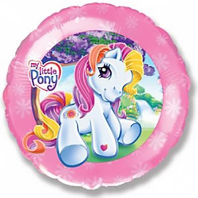 Шар (18»/46 см) Круг, Моя маленькая пони, Розовый