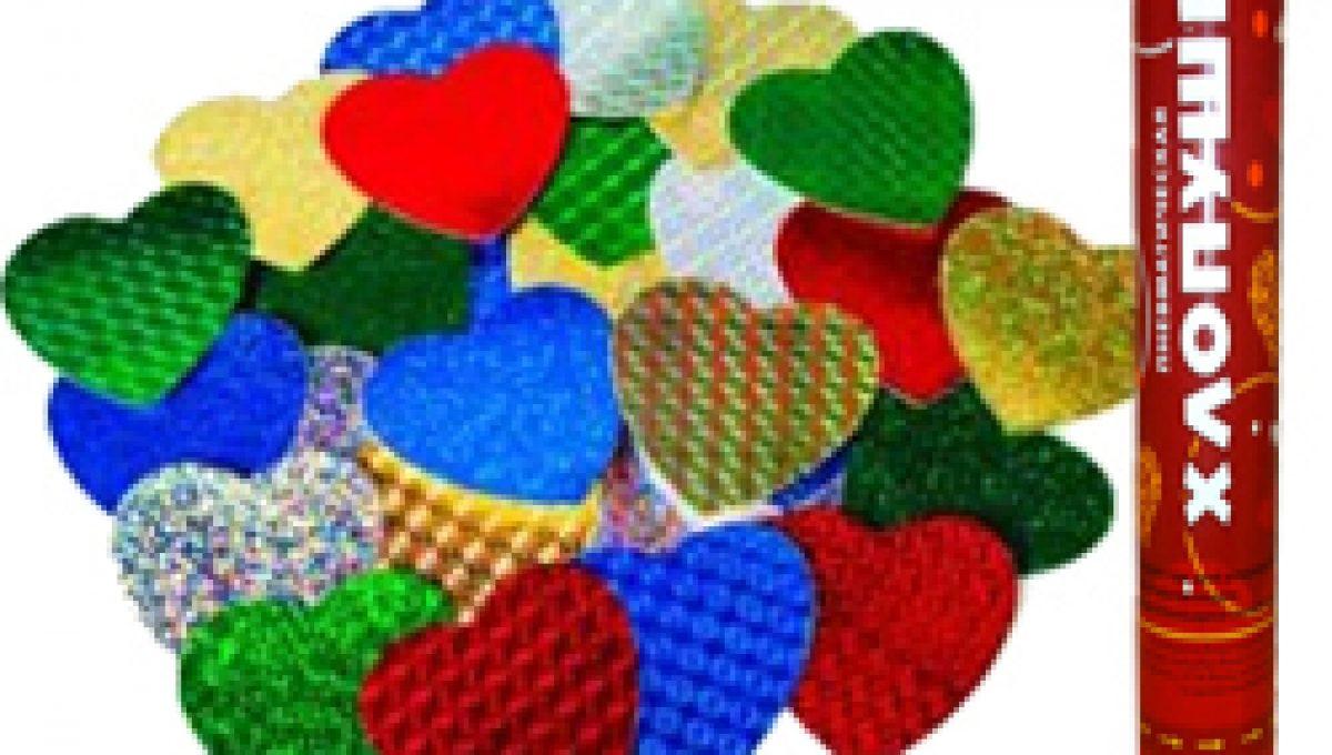 Пневмохлопушка (24»/60 см) Металлизированные сердца