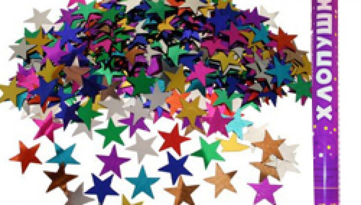 Пневмохлопушка (24»/60 см) Металлизированные звезды