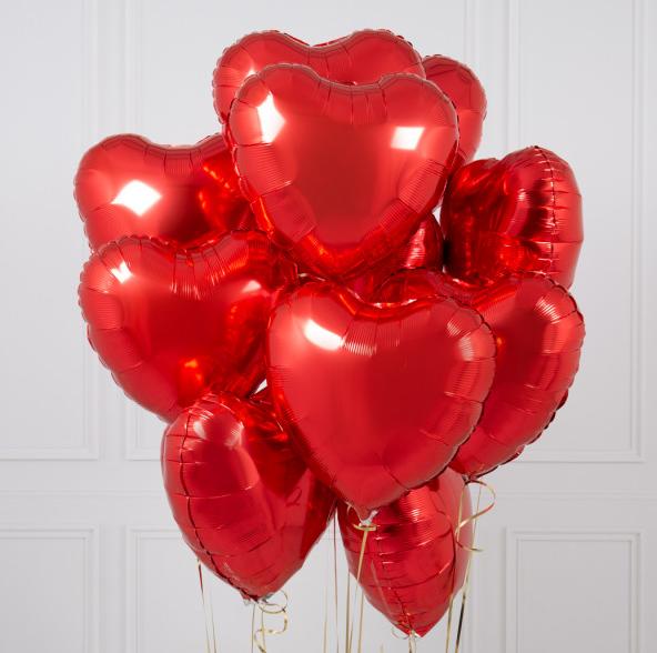 """Букет  Красные сердечки 10 шт. 18""""/46cм"""