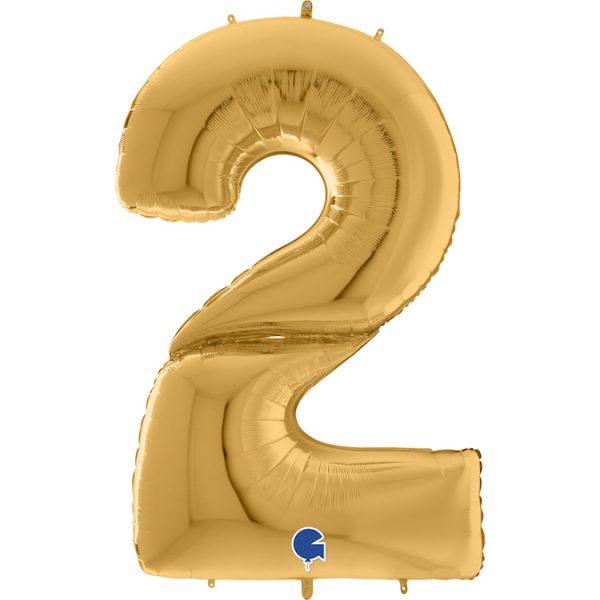 Шар (64″/163см) Цифра, 2, Золото, 1шт.