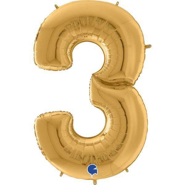 Шар (64″/163см) Цифра, 3, Золото, 1шт.