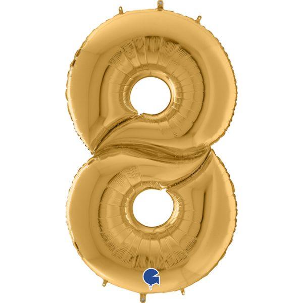 Шар (64″/163см) Цифра 8, Золото, 1шт.