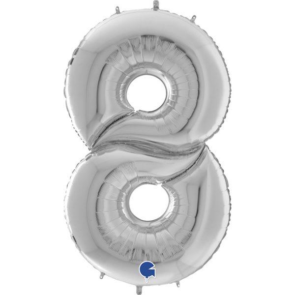 Шар (64″/163см) Цифра 8, Серебро, 1шт.