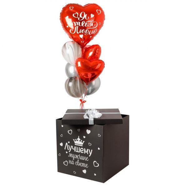 Коробка-сюрприз с воздушными шарами Black Love.