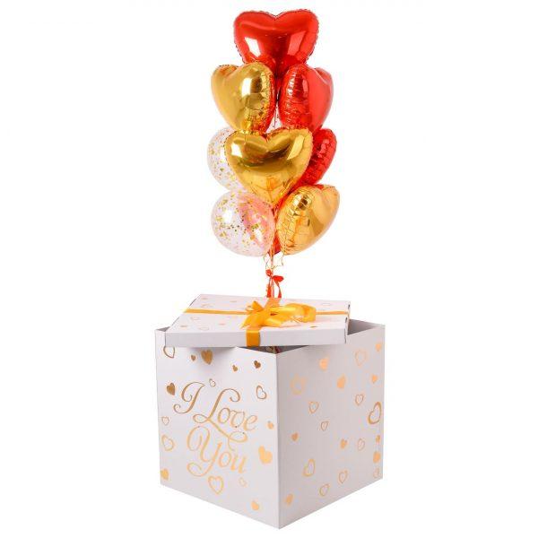 Коробка-сюрприз с воздушными шарами Сердца