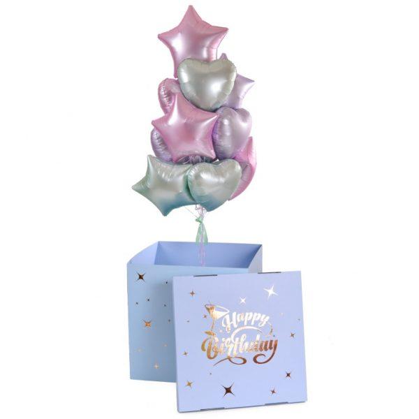 Коробка-сюрприз с воздушными шарами Сердца и звезды, С Днем Рождения
