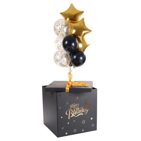 Коробка-сюрприз с воздушными шарами Happy B-Day, Gold !