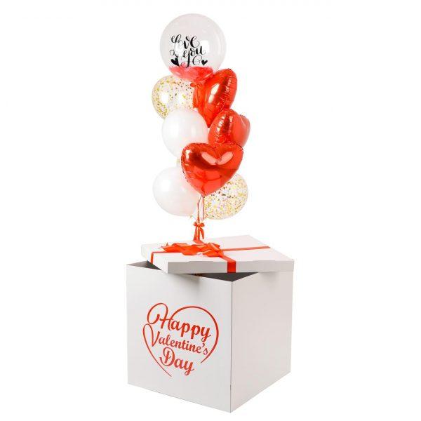 Коробка-сюрприз с воздушными шарами Для Влюбленных