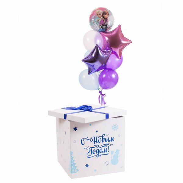 Коробка-сюрприз с воздушными шарами Холодное сердце.